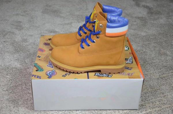 Newest Top quality Mens Women Boost x MitchellNess x Golden Boots State Mens Warriors 6-Inch Premium Boots WHEAT BLUE