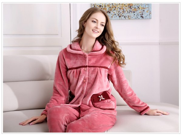 New winter women and men flannel pajamas set long sleeve long trousers coral fleece warm pyjamas couple home clothing