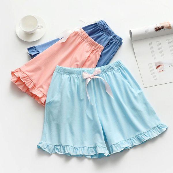 Acogedor algodón para mujer Pijamas Pantalones para el hogar Verano Color sólido Simple para mujer Sueños de dormir Cordones Ruffle Shorts Lencería sexy