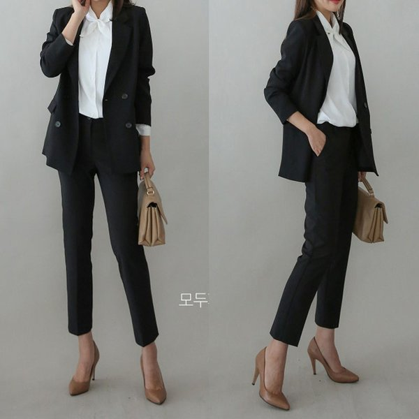 Set female 2019 spring new fashion slim suit jacket nine pants two sets of temperament casual solid color wild women's clothes