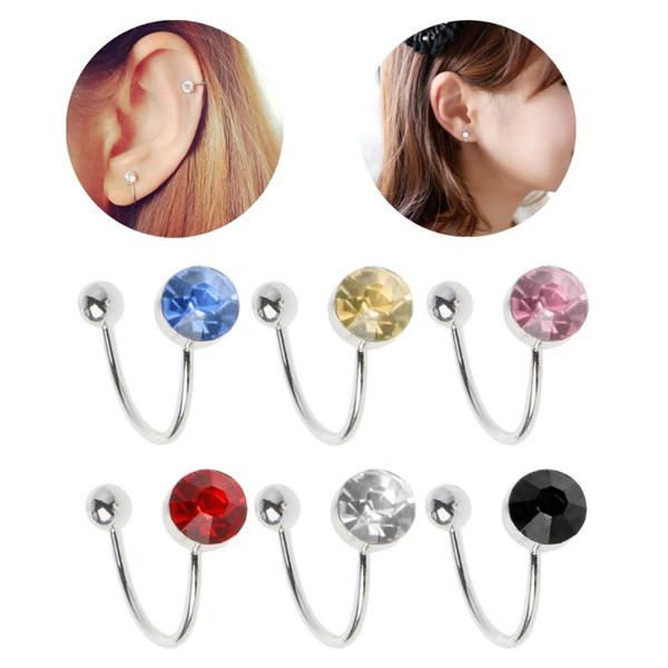 CZ Stone Clip On Earring Crystal Ear Cuff No piercing Ear Clip Joyería de moda