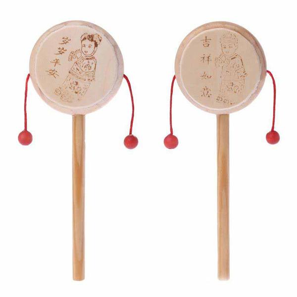 Madera natural chino de la historieta tradicional Spinning Rattle tambor de mano bebé de la campana musical de juguete niños juguete educativo temprano
