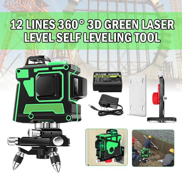 12 linee di livello laser verde 3D 360 gradi Strumento autolivellante Set di utensili ad alta precisione con oscillatore a croce verticale orizzontale Nuovo