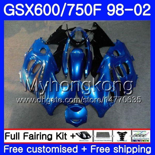 Cuerpo para SUZUKI KATANA GSXF 600 750 GSXF750 98 99 00 01 02 292HM.34 GSX 750F 600F GSXF600 stock azul marco 1998 1999 2000 2001 2002 Carenado
