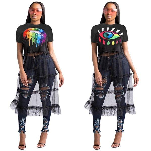 Las mujeres de manga corta gasa vestido de malla de verano remiendo camiseta larga vestidos de tul moda Ladies Summer Beach Club PARTY vestido largo nuevo C42602