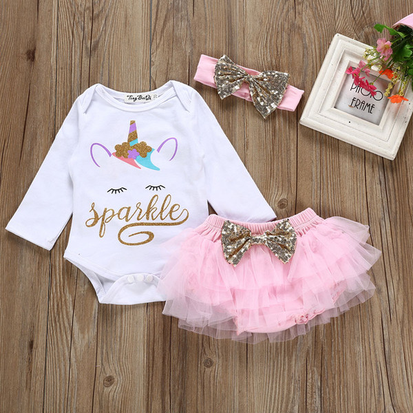 Baby girls unicorn outfits dress children romper+TuTu dress+hairbands 3pcs/set cartoon 2019 fashion Boutique Kids Clothing Sets 0901315