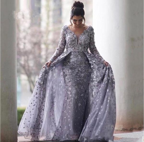 Suudi Arapça Grey Müslüman Gelinlik 2020 Mermaid V yaka Uzun Kollu Tül Dantel İslam Dubai Uzun Örgün Akşam Elbise