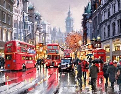 High Quality Handpainted & HD Print Romantic Bus Europe Landscape Art Oil Painting Home Deco Wall Art on Canvas Frame Options l219