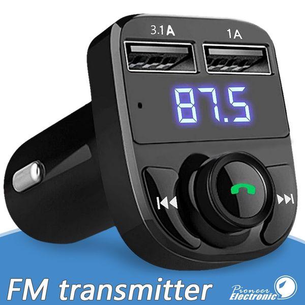 Transmisor de FM Modulador auxiliar Inalámbrico Bluetooth Kit de manos libres para automóvil Reproductor de MP3 para audio del automóvil con 3.1A Carga rápida Cargador de automóvil USB dual