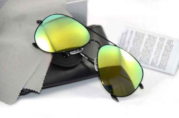 10PCS UV400 protection Mirror sunglasses Glass Lens 58mm Sunglasses pilot mens Sun glasses Brand Designer Womans glasses with Original cases