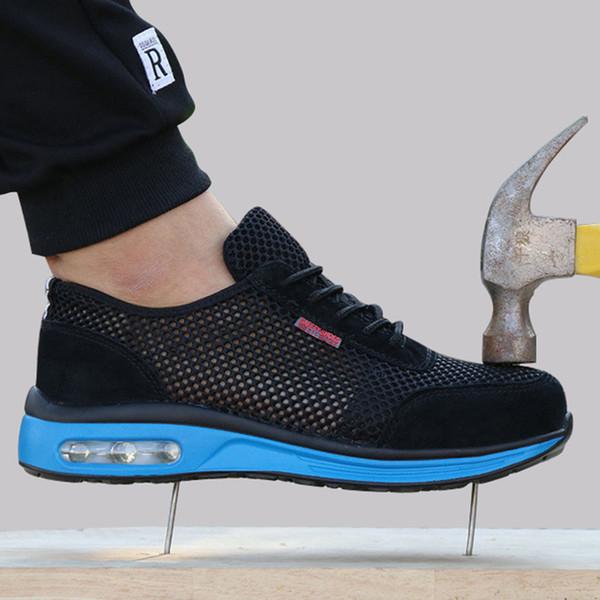 Koruyucu Ayakkabı Nefes Güvenlik Ayakkabıları erkek Hafif Çelik Burunlu Ayakkabı Anti smashing Piercing Tek Örgü Sneakers Çalışmak