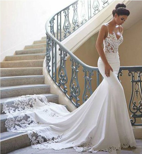 Sexy Spaghetti Mermaid Wedding Dresses Simple Lace Bridal Dresses
