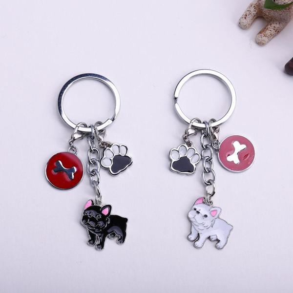 New Diy French Bulldog Key Chain Dogs Key Ring Pom Jewelry Women Bag Charm Keychain Bear Dog Feet Pendant Bones Round Tags Gift