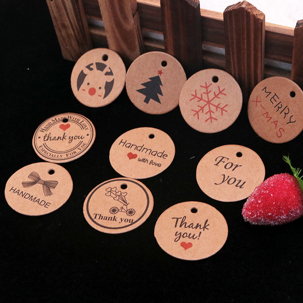 3.5cm DIY Kraft Paper Tags Round Card Hang Tag Blank Mark Wedding Party Favors Gift Tags Products Packaing Labels