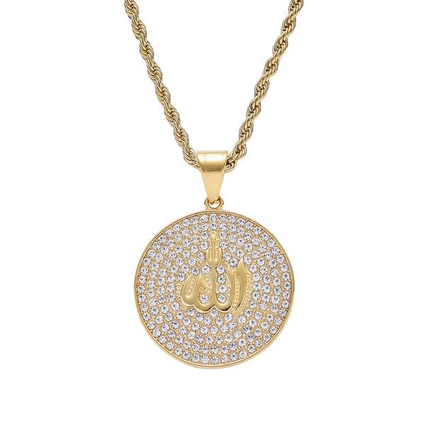 Stainless Steel Rhinestone Muslim pattern pendants Men Women Hip Hop Necklace Jewelry Gift SN201