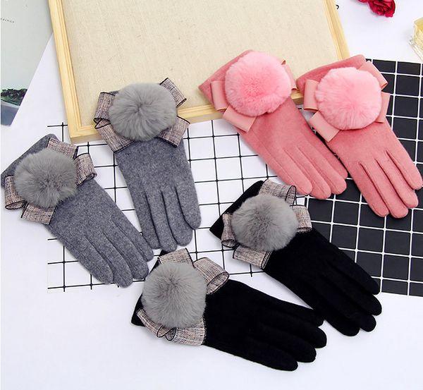 Moda- mulheres bonitos cinco dedos luvas rosa bowknot golves touch screen senhoras encantadoras arco lã bola grossa luva morna