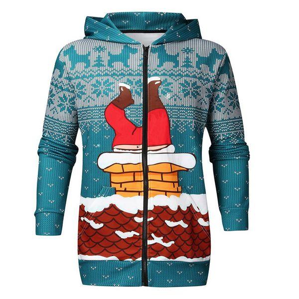 men's halloween coats santa claus and chimney casual christmas long sleeve zip hooded sweatshirt outwear sportswear warm coats