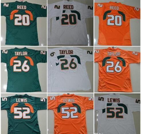 Miami Hurricanes College chandails # 20 Reed 52 Ray Lewis Jersey ACC 26 Sean Taylor Football Maillots Orange Vert Blanc