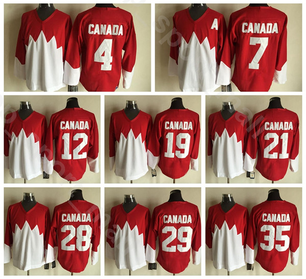 1972 Team Canada Hockey Jerseys Ice 4 BOBBY ORR 7 PHIL ESPOSITO 12 YVAN COURNOYER 19 PAUL HENDERSON Stitched Team Red Red White
