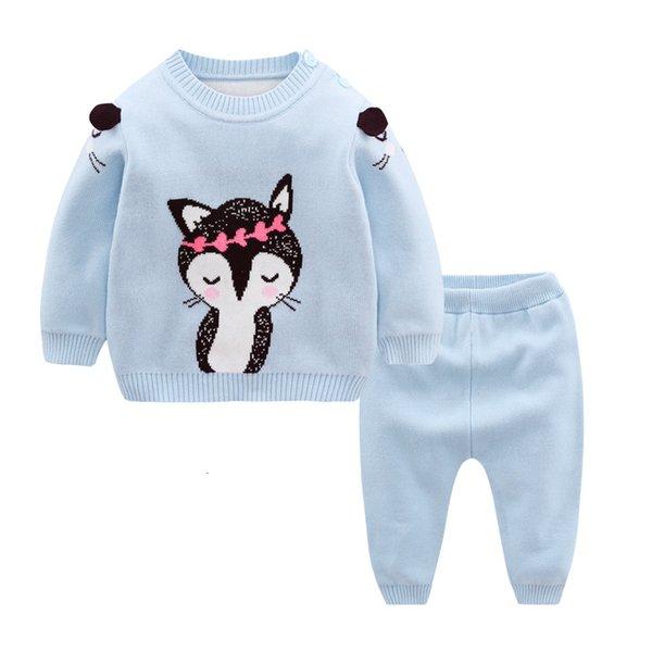 Recém-nascido Roupa 100% Cotton Baby Girl Set 2019 Primavera Knit Pullover + Sweater Calças 2pcs Boy Set Criança quentes sets crianças roupas CJ191210