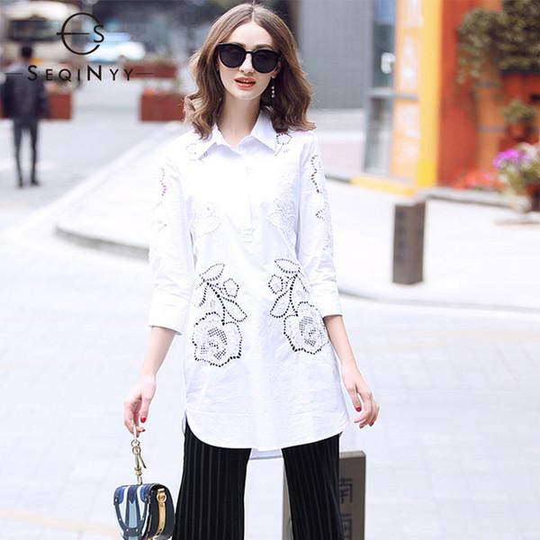 SEQINYY Pamuk Gömlek 2019 Erken Bahar Yeni Moda Kadınlar Yüksek Kalite Nakış Yarım Kollu Boncuk Uzun Üst Kadın oymak