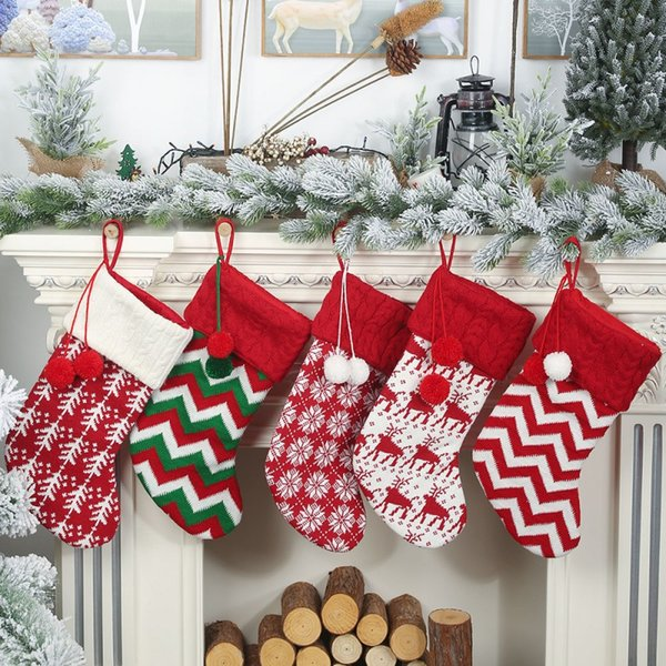 Knitted Christmas Stockings Gift Holders With Two Pom-Poms Xmas Tree Fireplace Hanging Ornaments Chrismas Decorations Socks