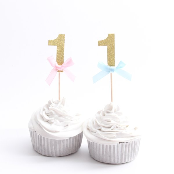 10PCS/lot Happy First Birthday Cupcake Toppers 1st Baby Boy Girl Decorations I AM ONE My 1 Year Birthday party supplies
