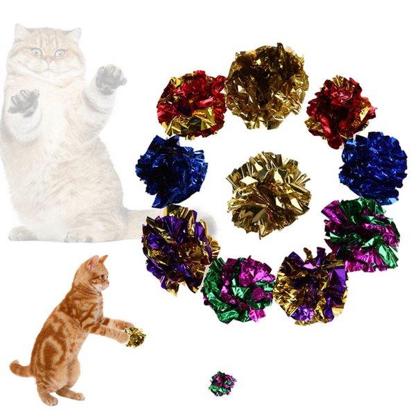 12pcs Cat Toys Multicolor Mylar Piega Ring Ball Paper Sound Toy Per Cat Kitten Riproduzione di prodotti interattivi Pet Cat Supplies