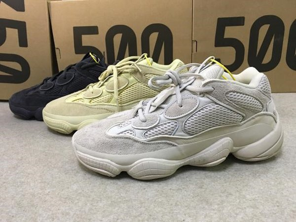2019 500 700 Kanye West Running Shoes Designer Chaussures Super Moon Jaune Blush Desert Rat 500 Baskets Sport Avec Box taille 5-12.