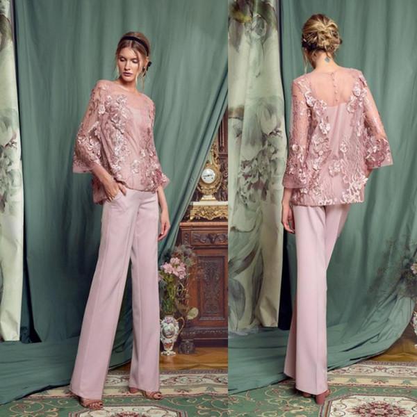 Chic rosa mujer pantalones trajes madre de la novia trajes joya cuello tul manga larga de encaje formal vestidos de baile trajes