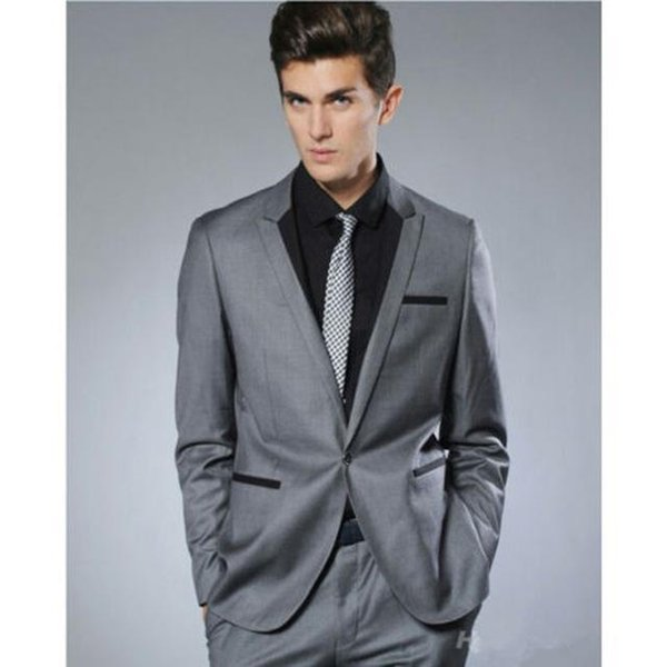 Nice Fashion Small Collar Grey Groom Tuxedo Men Wedding Suit Man Business Party Suits Mens Daily Wear Blazer (suit+pants+tie)