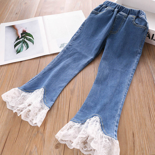 Lace girls jeans Autumn Winter kids jeans kids designer clothes girls trousers Skinny Jeans kids clothes girls dresses A7037