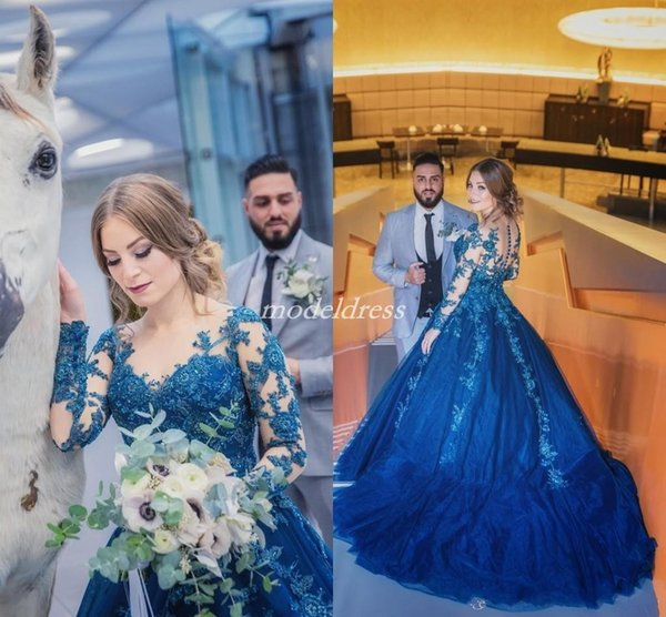 2019 Royal Blue Quinceanera Dresses Long Sleeve Sheer Jewel Neck Illusion Bodice Appliques Beads Sweep Train Prom Party Gowns For Sweet 15