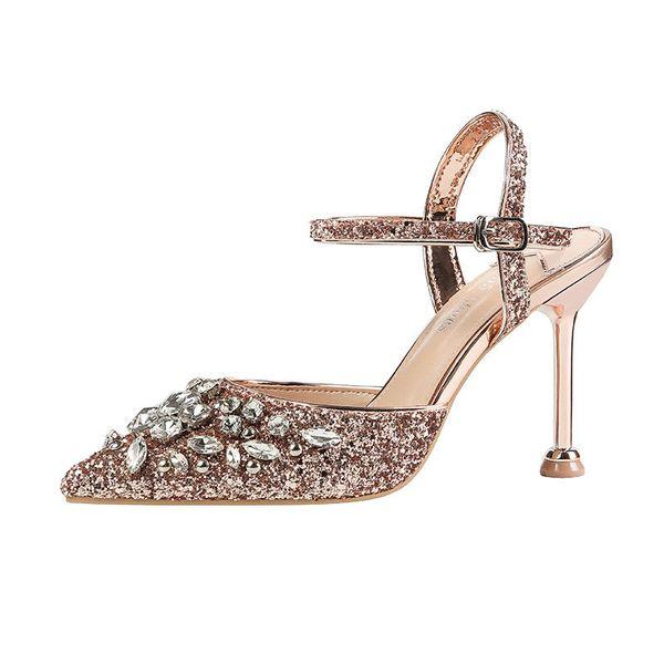 2019 ilkbahar ve sonbahar yeni sığ ağız sequins stiletto sivri yüksek topuk bayan ayakkabıları brwon 0510
