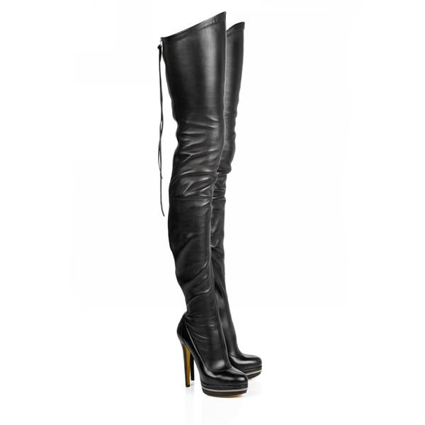 Chueyz мода кожаные женские сапоги над коленом бедра высокие сапоги зашнуровать сексуальные тонкие высокие каблуки платформа Женская обувь size34-41