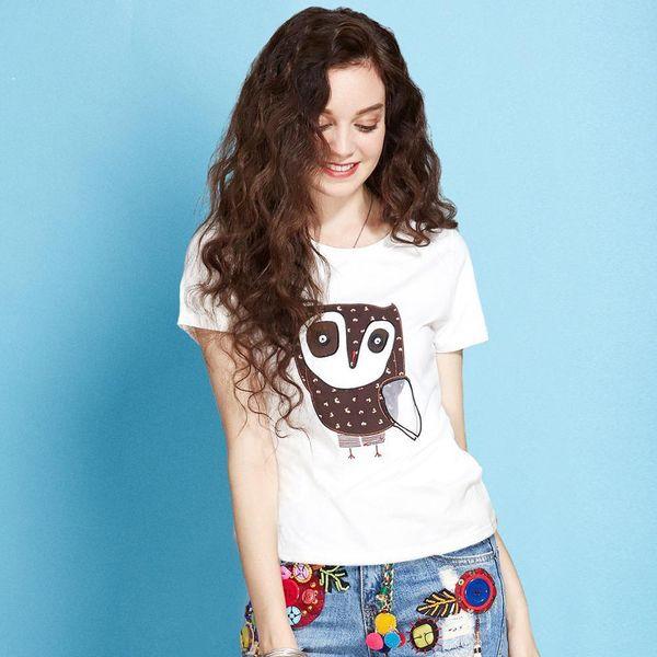 Artka 2018 Casual Owl bordado verano mujeres camiseta manga corta mujer ropa camiseta Ta10774x J190427