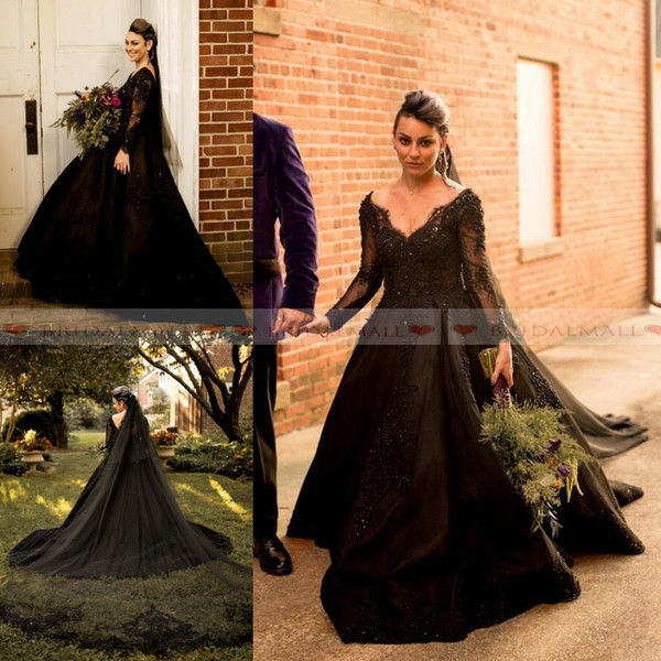 Discount Plus Size 2019 V Neck Black Lace Ball Gown Wedding Dresses Beaded  Applique Sheer Long Sleeves Gothic Bridal Gowns Custom Robes De Mariée V ...