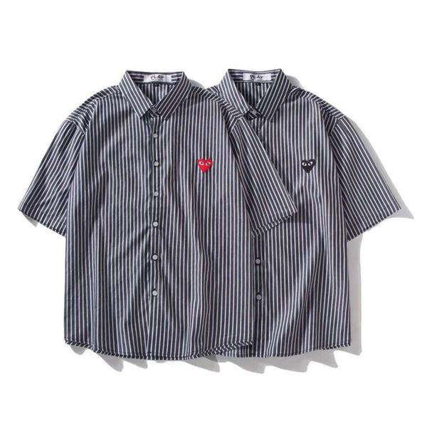 Men's Short Sleeve Shirt Chuanjiu CDG PLAY Bao Ling Classic Design Black Red Love Stripes Casual Loose Top