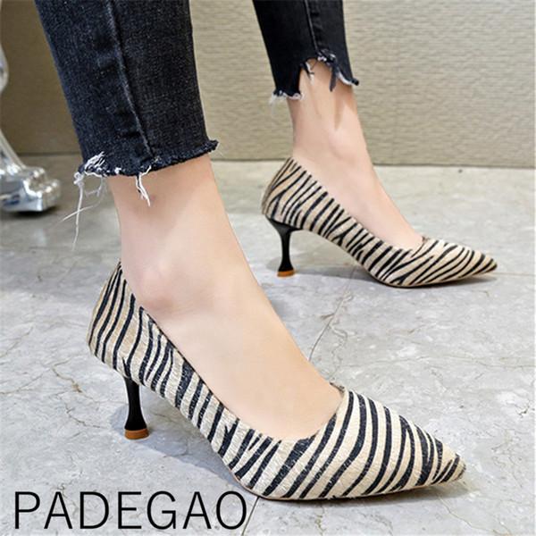 Der gestreifte Leopard-Druck der spitzen Zehen-Schuh-Schuhe der koreanischen Art-Kätzchen-hohen Absätze der Frühling-Frauen