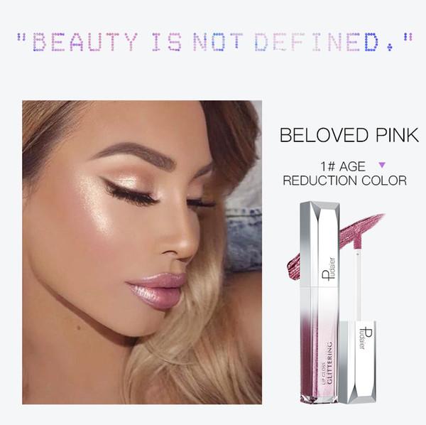 Pudaier Glitter Lip Gloss Moisturizer Makeup Lip Tint Long-lasting Labial Glaze Glitter Liquid Lipstick korea cosmetics TSLM2