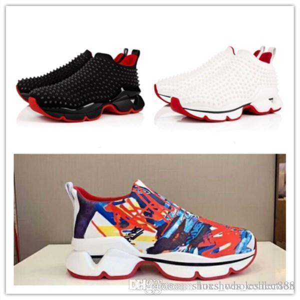 Ultime sneakers multicolori a fondo rosso, spazio run classico piatto con punte rosse suola per donne uomini in movimento, taglia 35-45
