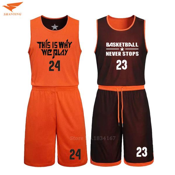 2017 Men Reversible Basketball Set Uniforms kits Sports clothes Double-side basketball jerseys DIY Customized Training suits C18122501