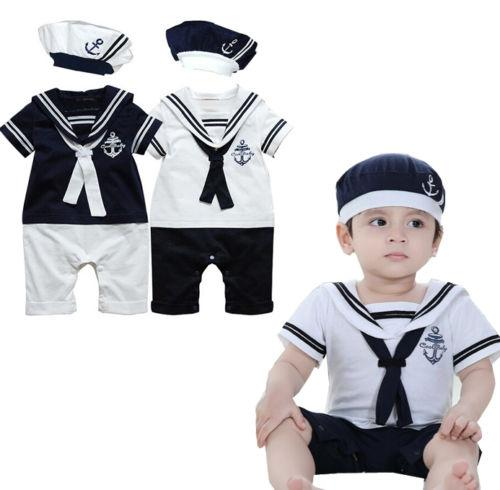 Cotton Short Sleeve Sailor Collar Rompers Hat Outfits Clothes Set Toddler Newborn Baby Boys Navy Style Patchwork Romper Playsuit