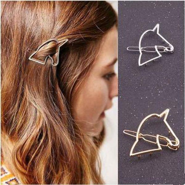 Grampos de cabelo Barrettes Moda Feminina de Ouro / Banhado A Prata Oco Out Alloy Unicorn Breif Acessórios Para o Cabelo de Jóias Por Atacado Shr413