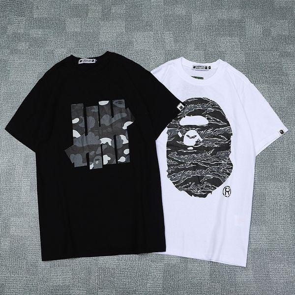 HO 3330 Affenkopf UNGEFÜHRTE Ärmel gedruckt CAMO kurzes T-Shirt Paare Liebhaber aus reiner Baumwolle Kurzarm Männer Frauen Hip Hop Street Style T-Shirts