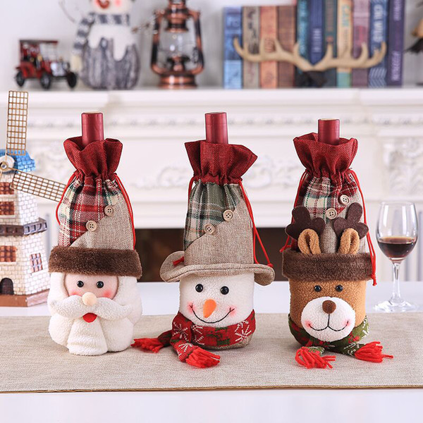 Christmas Decorations for Home Santa Claus Wine Bottle Cover Set Snowman Stocking Gift New Year Party Decor Supplies 1/2/3/4PCS