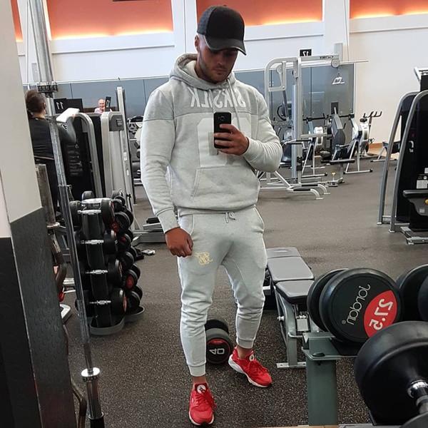 Mens de Fitness Corredores Track Pants Men calças de algodão Hip Hop Calça Casual moda Outono / Inverno bordados Sik Silk