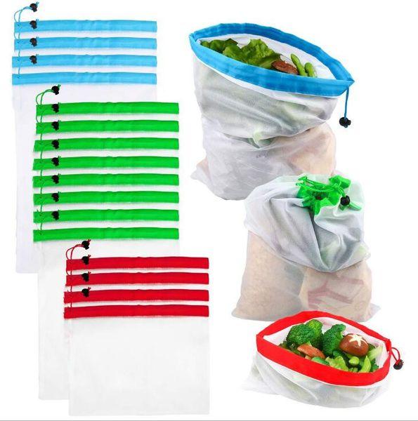 Sacs de magasinage réutilisables maille écologique fruits légumes jouets poche sac de rangement sacs à main sacs de rangement pour la maison