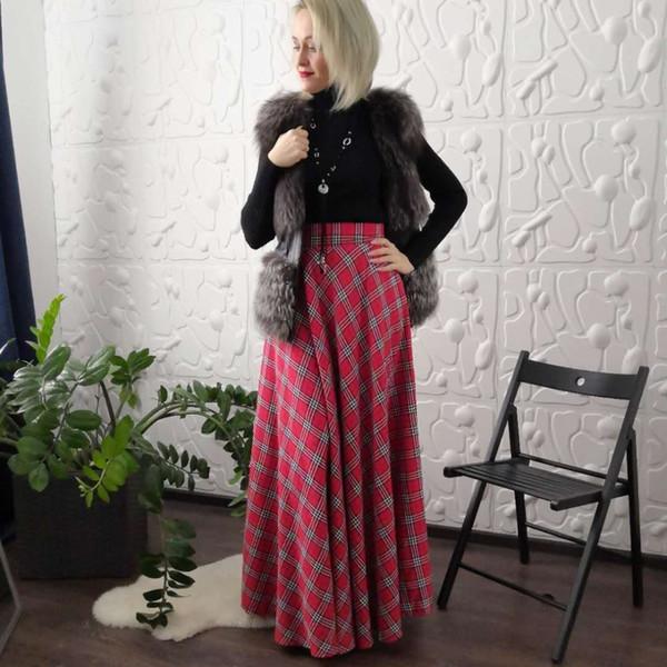 Plus Grande Taille Jupe Longue Pour Les Femmes Plissée Rouge À Carreaux Tartan Avec Poches Europe Angleterre Longueur Au Sol Fête Maxi Jupe Y190428