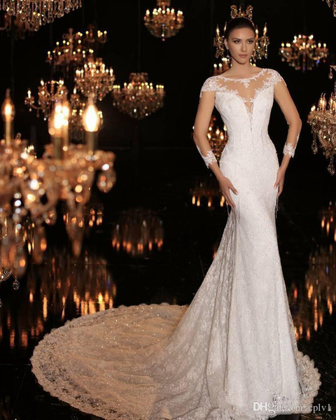 Mermaid Lace Sheer Long Sleeve Luxury Beach Corset Wedding Dresses Bling Long Train 2019 New robe de mariée Bridal gown With Full Beads H018